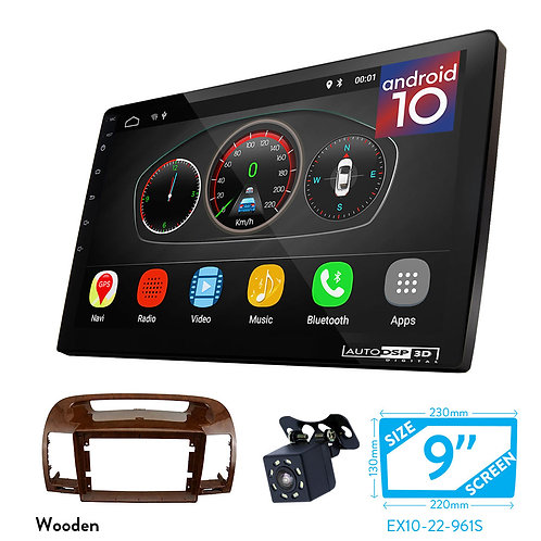 """9"""" DSP Car Radio+Fascia Kit Compatible with TOYOTA Camry (ACV30) 01-06 (Wooden)"""