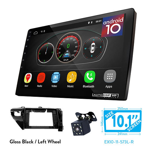 """10"""" DSP Car Radio+Fascia Kit Compatible with TOYOTA Hilux 2015+ (Right Wheel)"""