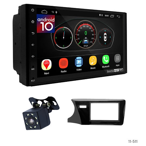 "7"" DSP Car Radio+Fascia Kit Compatible with Honda City, Ballade, Grace 14+; Grei"