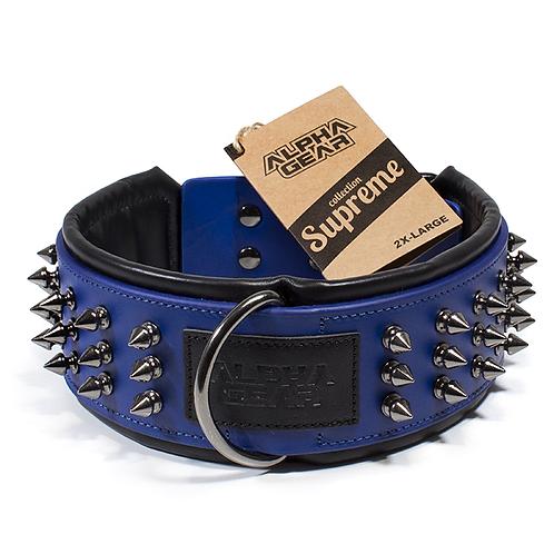 Collier de cuir 2X-Large - Bleu