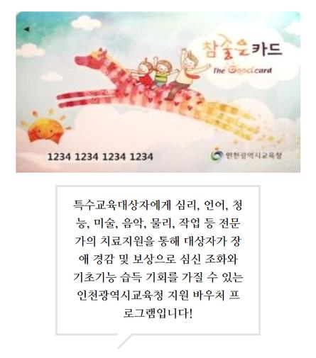 인천광역시교육청 특수교육대상 심리지원 서비스(참좋은카드) 개시