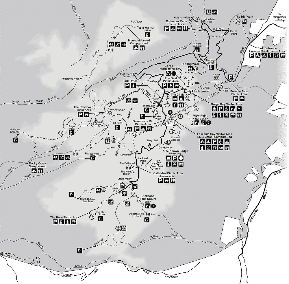 Карта парка Маунт Буфало| skitour.club| Блог Сергея Чеботова