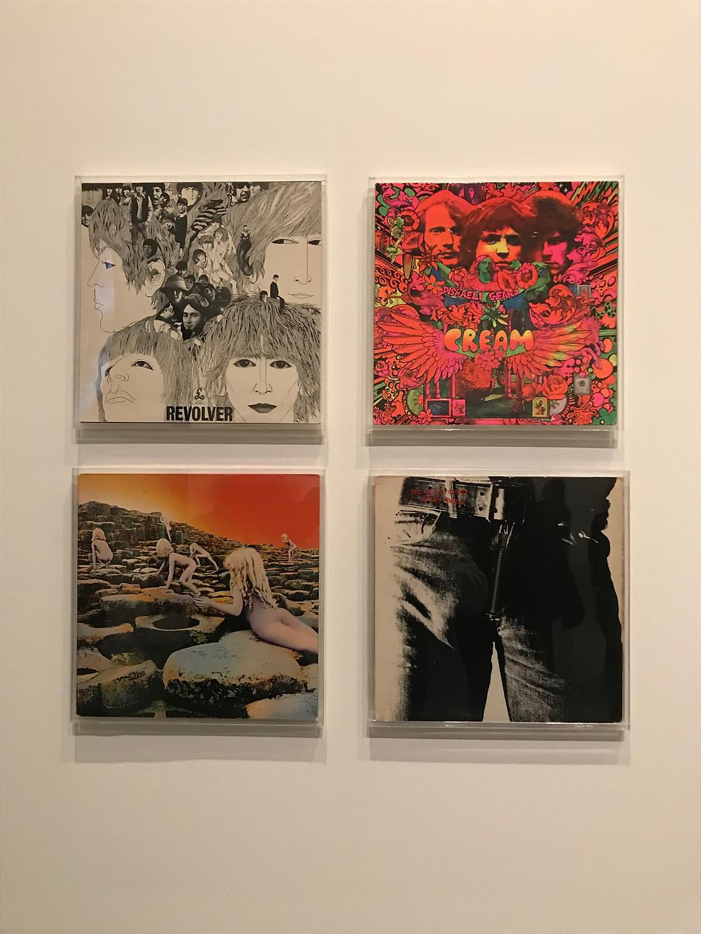 """Обложки конвертов:  Beatles - """"Revolver"""" Cream - """"Disraeli Gears"""" Led Zeppelin - """"Houses of the Holly"""" Rolling Stones - """"Stiky Fingers"""