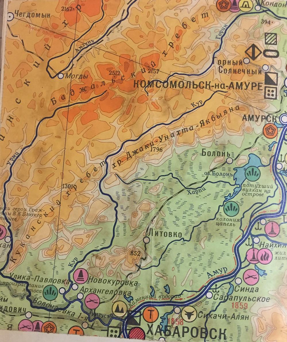 Карта центральной части Хабаровского края| skitour.club| Блог Сергея Чеботова