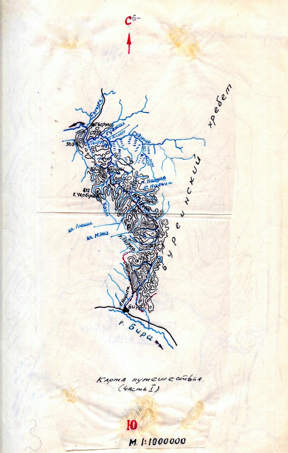 Карта Буреинского хребта| skitour.club| Блог Сергея Чеботова