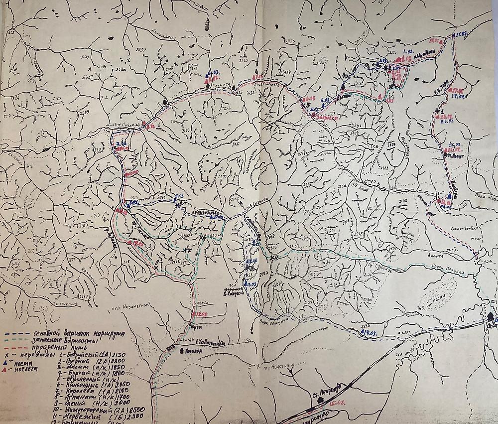 Карта района похода| skitour.club| Блог Сергея Чеботова