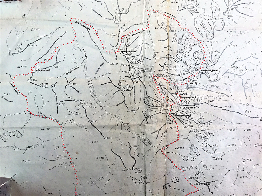 Карта района пика Победа| skitour.club| Блог Сергея Чеботова