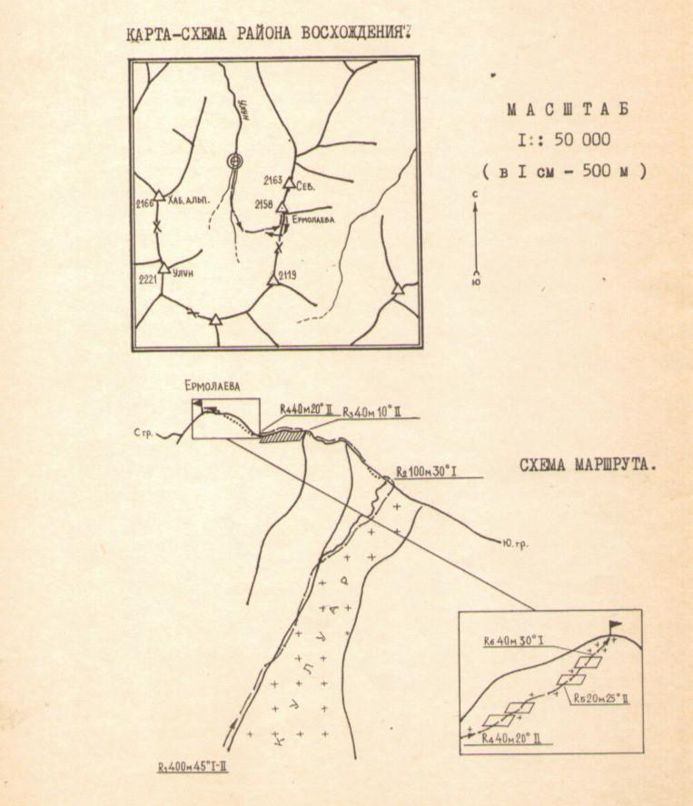 Карта-схема района восхождения| skitour.club| Блог Сергея Чеботова