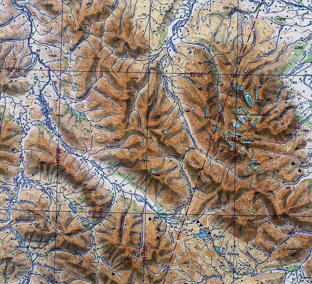Карта Буордахского массива| skitour.club| Блог Сергея Чеботова