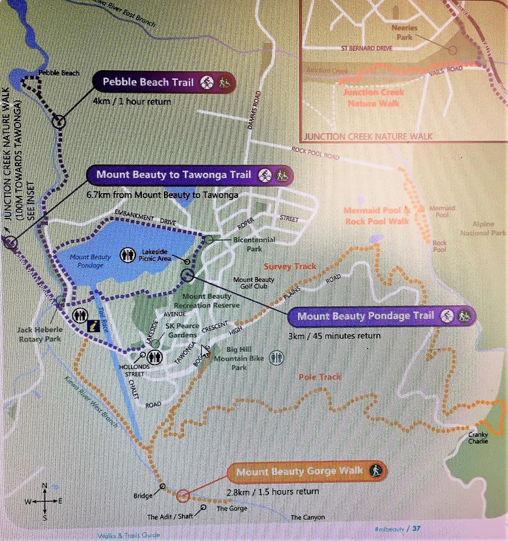 Схема маршрутов в Mount Beauty| skitour.club| Блог Сергея Чеботова
