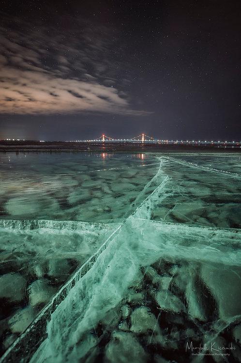 Mackinac Bridge over Ice