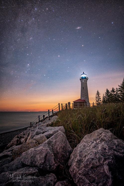 Crisp Point Lighthouse - Moonlit Milky Way
