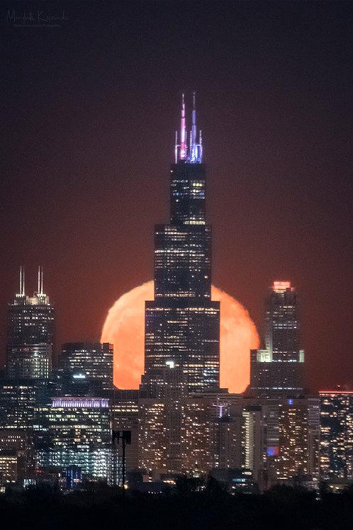 Moonrise over Chicago
