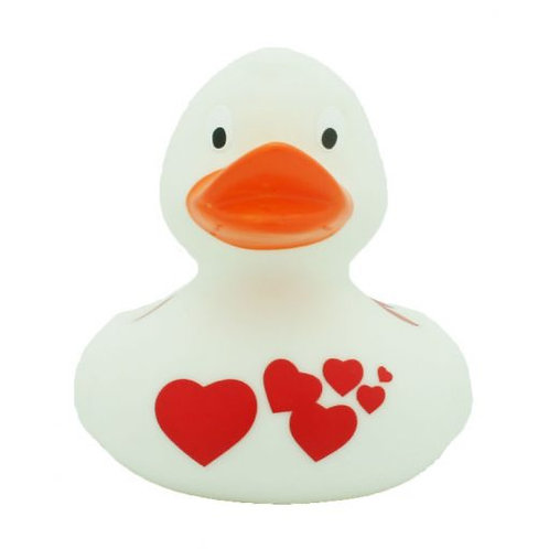 White With Red Hearts Rubber Duck