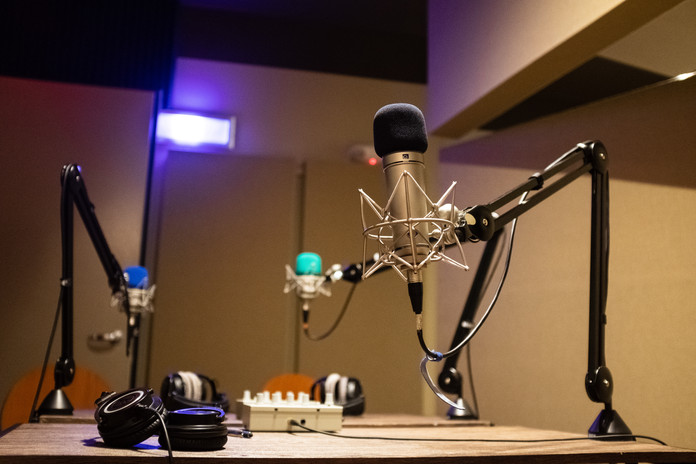 A typical podcast setup