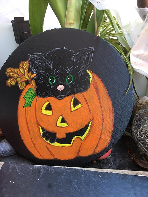 Ardoise - chat Halloween