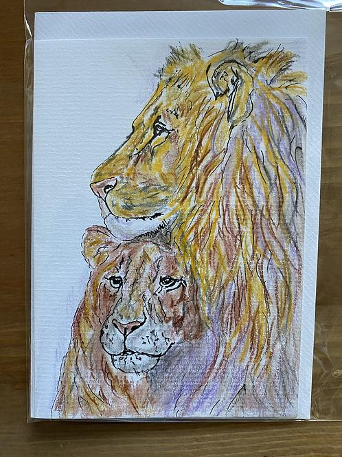 Carte - couple de lions