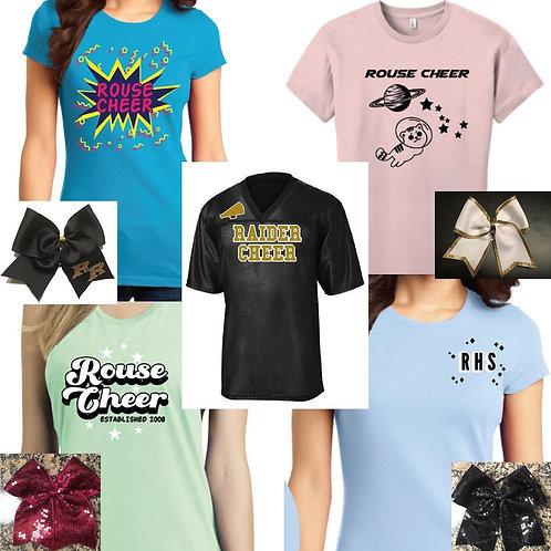 Cheerleader Package:  Shirts, Bows, Masks & Jerseys