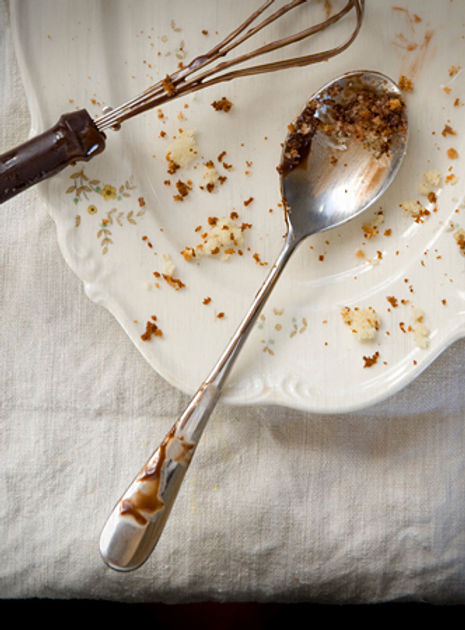 Plate with Cake Crumbs