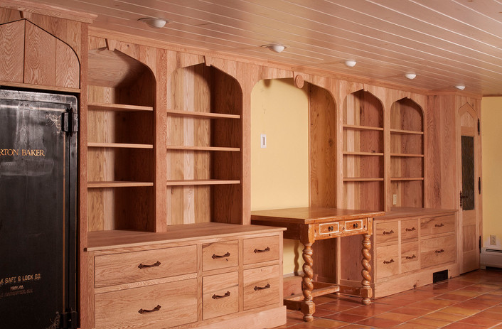Family room cabinets and shelving