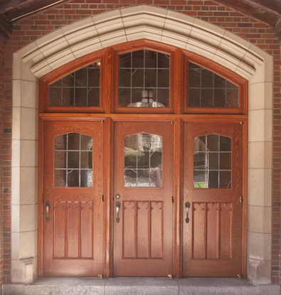 College student center doors and transom