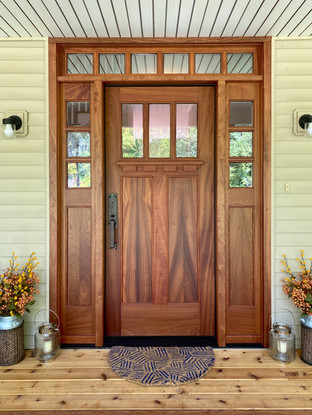 Entry door, sidelights and transom