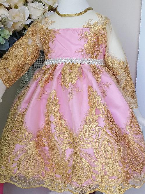 Vestido Luxo Infantil - Rosa Bebê com Renda Dourada