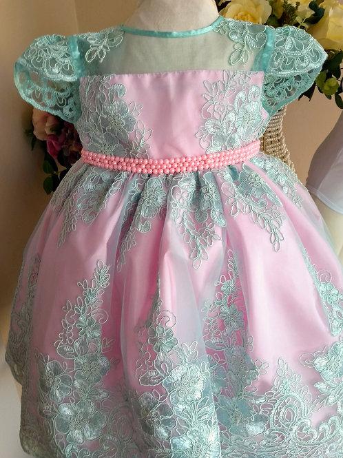Vestido Luxo Infantil - Rosa Bebê com Renda Verde