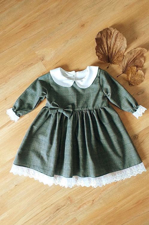 Vestido flanela xadrez cinza - gola boneca