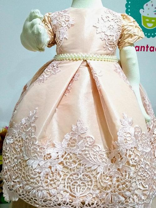 Vestido Luxo Infantil - Rosa com Renda Branca