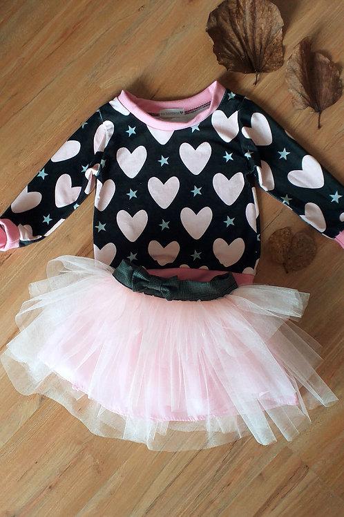 Moletom coração  + saia tule francês rosa