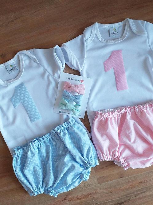 Body 1 aninho + Blommer +Kit Lacinhos Candy Colors