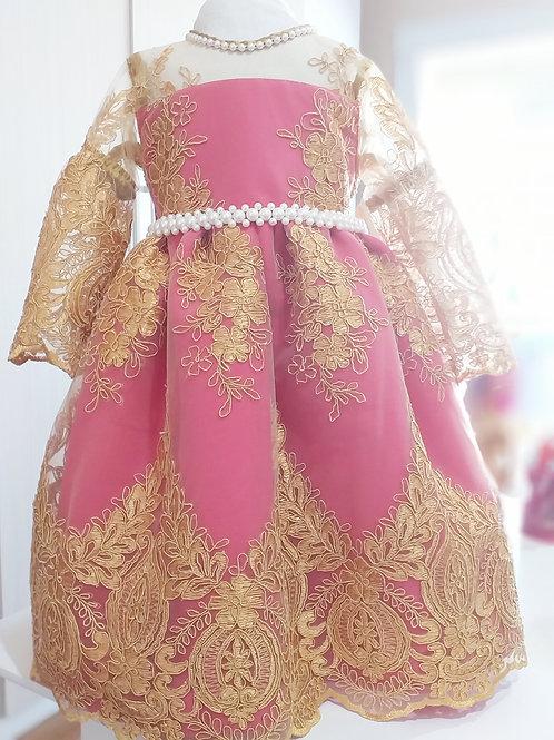 Vestido Luxo - Pink com Renda Dourada