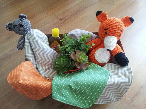 Kit Presente - Chá de Bebê - Selva Bebê - Raposinha e Urso