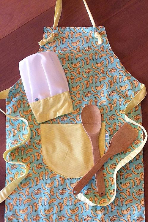 Avental e touca - Baby bananas
