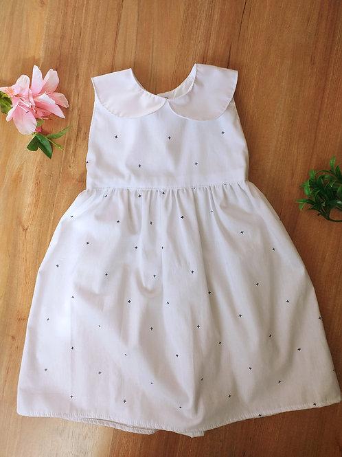 Vestido Infantil - Branco e Preto Mini Cruz - Tricoline