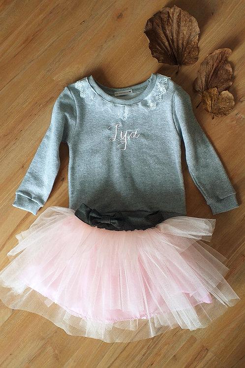 Moletom personalizado + saia tule francês rosa