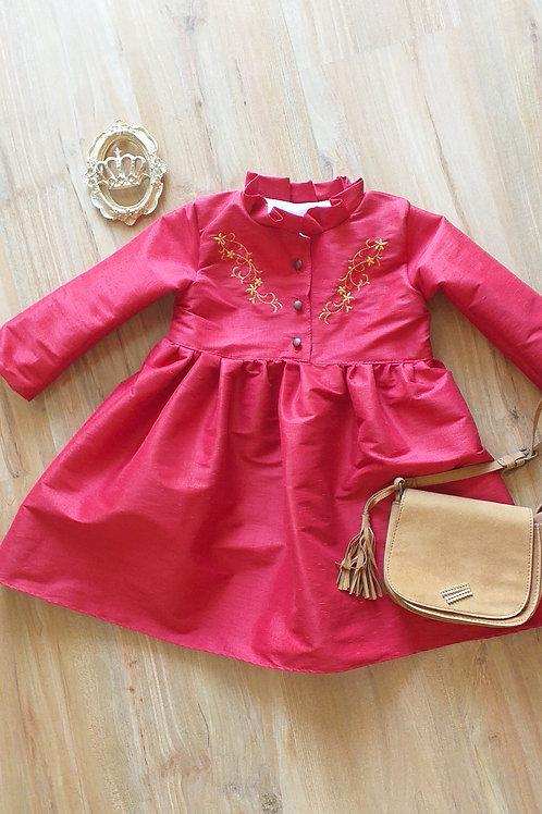 Vestido Tafetá Vermelho Bordado