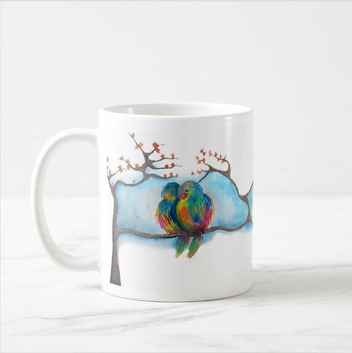 """""""Love Birds"""" Watercolor Mug"""