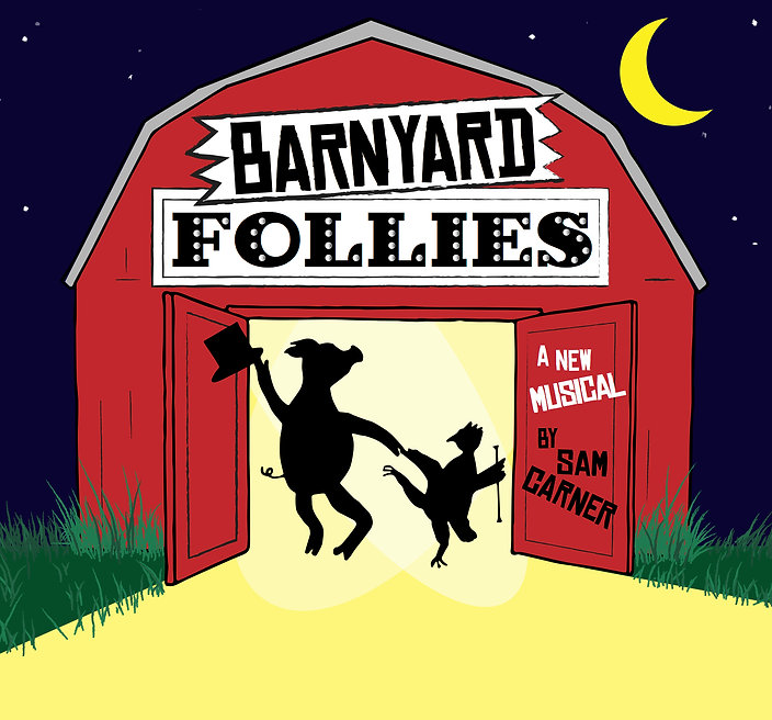 Barnyard Follies logo, dancing pig, dancing chicken