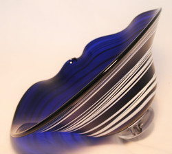 Blue with white wrap glass bowl