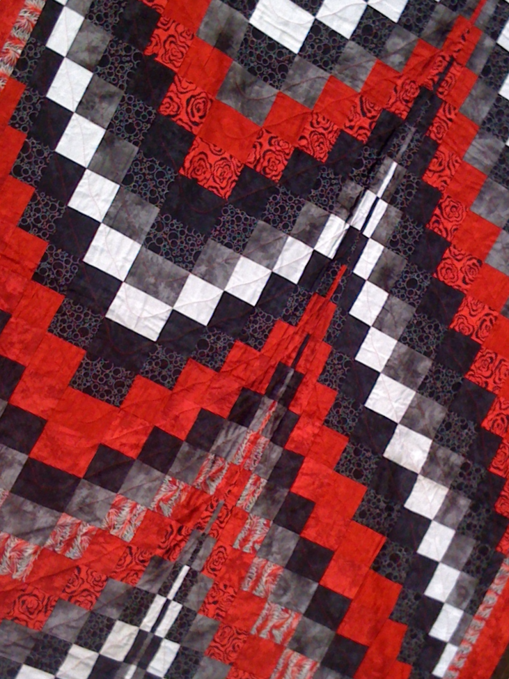 Red, Black, White and Grey Bargello