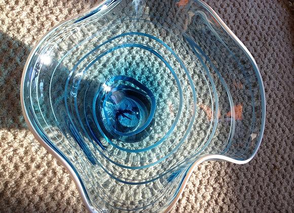 Translucent Turquoise glass with White enamel wrap