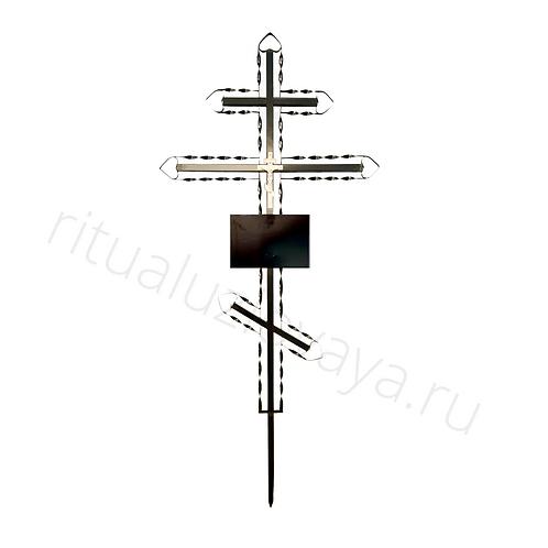 Крест православный ритуальный металлический чёрный с табличкой - Спираль.