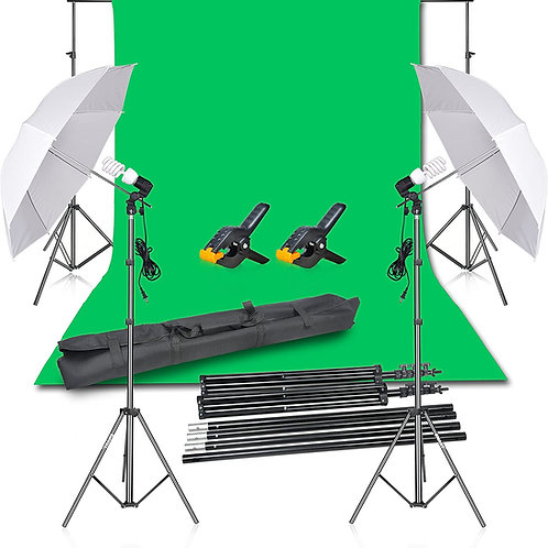 Photography Backdrop Continuous Umbrella Studio Lighting Kit & Green Screen Kit!