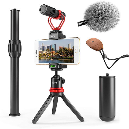 Movo VXR10+ Smartphone Video Rig with Mini Tripod, Phone Grip, and Video Mic.