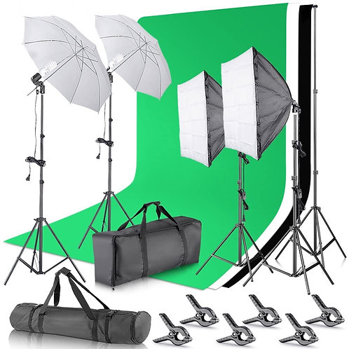 Neewer 2.6M x 3M/8.5ft x 10ft Background Support System and Pro Green Screen Kit