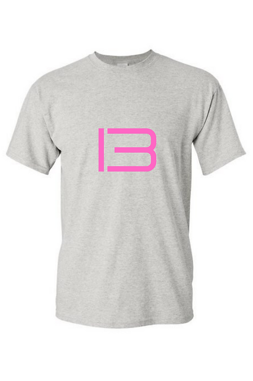 13 Pink Text Grey T