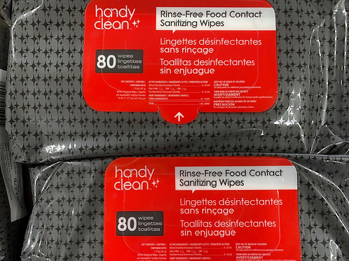 Handy Clean® Rinse Free Sanitizing Wipes (80 Count)