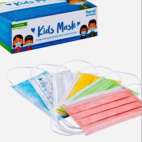 Karat 3-Ply Kids Face Mask (Mixed Colors) 30ct
